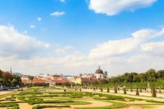 View at Orangery and garden of Belvedere palace, Vienna, Austria Stock Photos