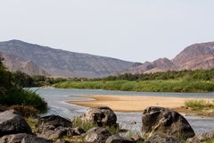View on the oranje river in namibia Royalty Free Stock Photo