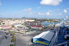 Oranjestad from cruise ship. View of Oranjestad, Aruba from the top deck of a cruise ship Royalty Free Stock Photo