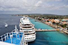 View of Oranjestad from cruise ship. View of Oranjestad, Aruba from the top deck of a cruise ship Royalty Free Stock Photos