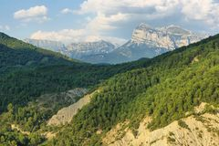 View of Ordesa valley from Boltana in Huesca, Spain royalty free stock photography