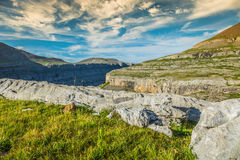 View of Ordesa valley and Monte Perdido massif, Pyrenees, Spain. Stock Photo