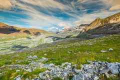 View of Ordesa valley and Monte Perdido massif, Pyrenees, Spain. Stock Image