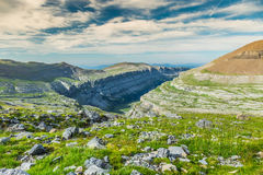View of Ordesa valley and Monte Perdido massif, Pyrenees, Spain. Stock Photos