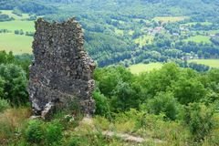 View from the ruins of the Schönburg castle. View of the Ore Mountains in summer,Czech Republic Royalty Free Stock Photos