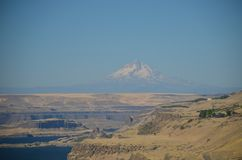 Mt. Hood and Columbia River Gorge. This is a view of Oregon`s Mt. Hood and the Columbia River Gorge from Maryville in Central Washington stock photo