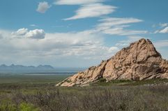 View from the Organ Mountains in New Mexico. View to the west from the Organ Mountains near Las Cruces in southern New Mexico stock photo