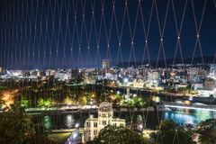 View from Orizuru Tower of Hiroshima Cityscape at night, Japan. View from Orizuru Tower of Hiroshima Cityscape at night on the side of Motoyasu River in Japan stock images