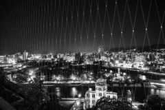 Hiroshima View from Orizuru Tower, Japan. View from Orizuru Tower of Hiroshima Cityscape at night on the side of Motoyasu River in Japan with the Atomic Bomb stock image