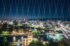 View from Orizuru Tower of Hiroshima Cityscape at night. On the side of Motoyasu River in Japan with the Atomic Bomb Dome in the foreground and the Peace royalty free stock photo