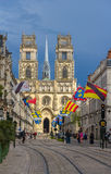 View of Orleans Cathedral from Jeanne d'Arc's street - France. Centre Royalty Free Stock Images