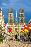 View of Orleans Cathedral from Jeanne d'Arc street. France Royalty Free Stock Photo