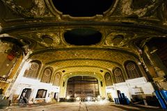 Abandoned Variety Theater - Cleveland, Ohio. A view of the ornate plaster that remains inside the vintage and abandoned Variety Theater in Cleveland, Ohio stock image