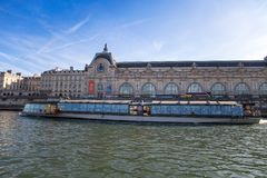 View of Orsay Museum from River Seine in Paris, France stock photography