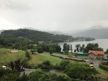 Orta Lake. View of Orta Lake in Italy under the cloudy weather Royalty Free Stock Photography