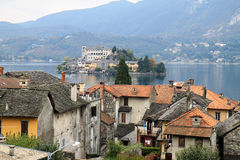 View from Orta San Giulio at Lake Orta, Italy stock photo