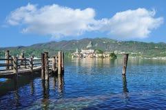 View to Isola San Giulio,Lake Orta,Piedmont,Italy Stock Image