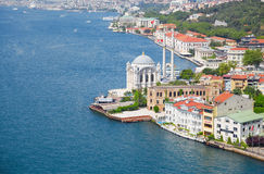 The view of Ortakoy Mosque from the Bosphorus bridge,  Istanbul Royalty Free Stock Photography