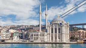View on Ortakoy Mosque form Bosphorus stock video footage