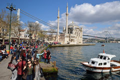 A view of Ortakoy Mosque, Istanbul. Stock Image