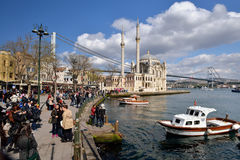 A view of Ortakoy Mosque, Istanbul. Stock Photography