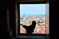 View of Orthodox cathedral from the church tower of the Gothic-style Roman Catholic Church of Saint Michael in Cluj-Napoca. Royalty Free Stock Images