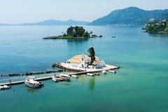 View on orthodox chapel Pontikonisi on Corfu island, Greece Royalty Free Stock Image
