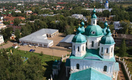 View on orthodox church. From a belltower Stock Images