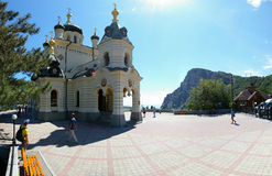 View of the Orthodox Church Foros in Crimea. View of the Orthodox Church Foros in the Crimea in the summer stock photography