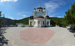 View of the Orthodox Church Foros in Crimea. View of the Orthodox Church Foros in the Crimea in the summer royalty free stock image