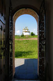 The view of the Orthodox Church through the gate Stock Photo