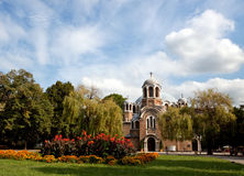 View of an Orthodox church in Sofia. A view of the Sveti Sedmochislenitsi church in Sofia, Bulgaria Royalty Free Stock Photos