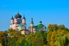 View on an orthodox monastery, surrounded by autumn trees. Stock Photography