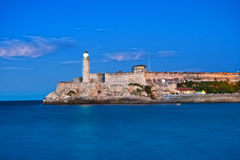View of ortress and lighthouse of El Morro in the entrance of Havana bay Royalty Free Stock Photo