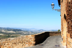 View from Orvieto walls, Umbria, Italy. Orvieto, a city in Italian southwestern Umbria, is situated on the flat summit of a large butte of volcanic tuff, rising Royalty Free Stock Images
