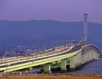 View from Osaka airport with the bridge cross to land. In evening light royalty free stock images