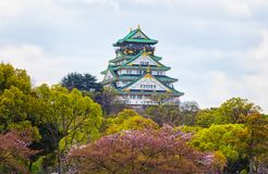 View of Osaka Castle in Osaka with autumn leaves,Janpan royalty free stock images
