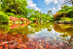 View on Osaka Castle from the garden, Royalty Free Stock Photography