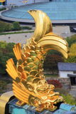 View from Osaka Castle, Osaka, Japan. View from Osaka Castle, Osaka, Historic Japan, golden fish on the roof of Osaka Castle Stock Photo