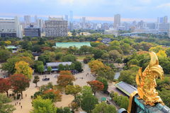 View from Osaka Castle, Osaka, Japan. View from Osaka Castle, Osaka, Historic Japan, golden fish on the roof of Osaka Castle Stock Images
