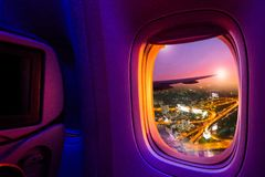 Window from airplane royalty free stock photography