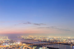 View of Osaka from the top floor of the highest building in town Stock Image
