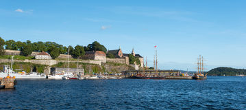 View on Oslo Fjord harbor and Akershus Fortress Royalty Free Stock Photos