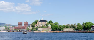 View on Oslo Fjord harbor and Akershus Fortress Stock Photography