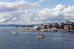 View of Oslo and the Oslo Fjord with the walls of the fortress of Akershus. Norway stock images