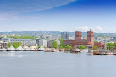 View of Oslo Town Hall from the sea copy space Stock Images