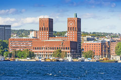 View of Oslo Town Hall from the sea Royalty Free Stock Photos