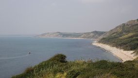 View from Osmington Mills of the coast of Dorset England UK stock video footage