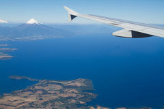 View of the Osorno Volcano, Patagonia, Chile from the sky. Stock Photography