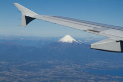 View of the Osorno Volcano, Patagonia, Chile from the sky. Stock Photos